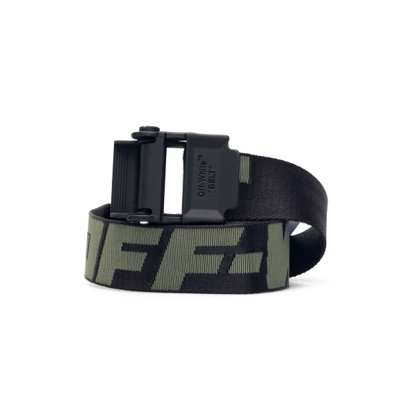Black Industrial belt with green logo                                                                                                                 Off white OMRB034R21FAB001 front
