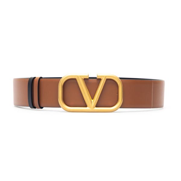 Brown belt with gold logo                                                                                                                             Valentino Garavani WW2T0S11 back