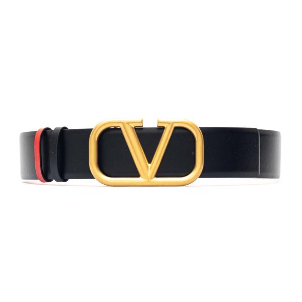 Cintura nera con logo oro                                                                                                                             Valentino Garavani WW2T0S11 retro