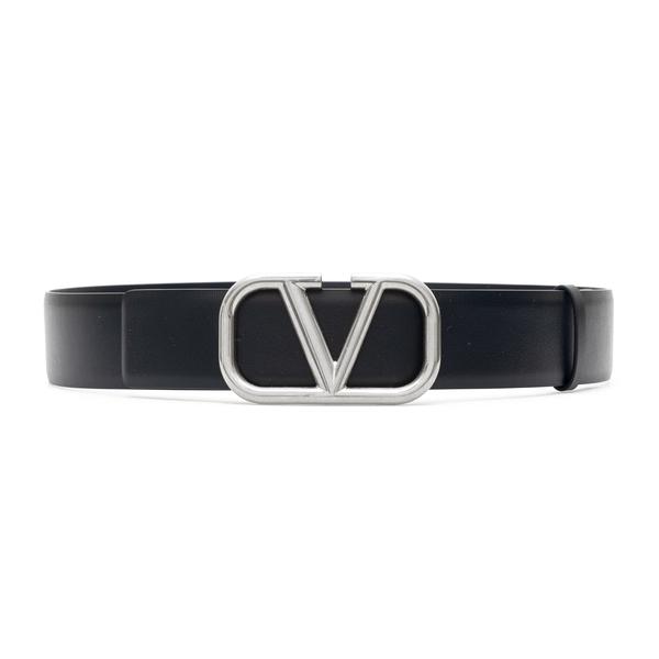 Cintura nera con V argento                                                                                                                            Valentino Garavani WY2T0Q87 retro