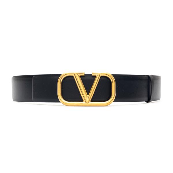 Cintura nera con V oro                                                                                                                                Valentino Garavani WY2T0Q87 retro