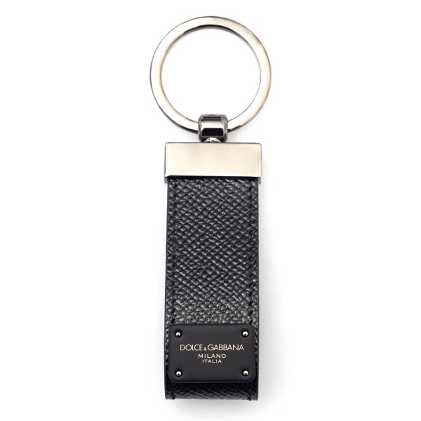 Black leather keychain with logo                                                                                                                      Dolce&gabbana BP1371 front