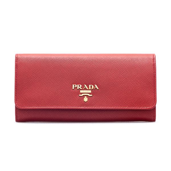 Portafoglio rosso con logo oro                                                                                                                        Prada 1MH132 retro