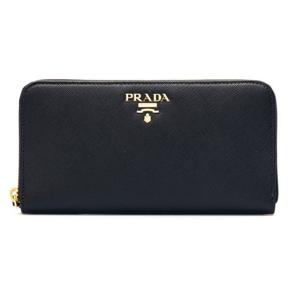 Black wallet with gold logo                                                                                                                           Prada 1ML506 front