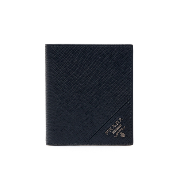 Portafoglio nero con placca logo                                                                                                                      Prada 2MO004 retro