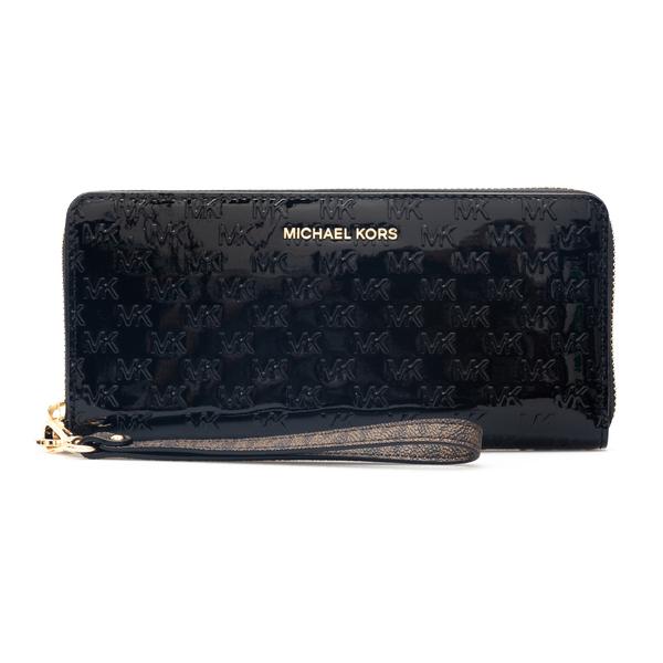Portafoglio nero lucido con pattern logo                                                                                                              Michael Kors 34F1GJ6T3A retro