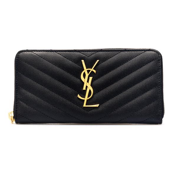 Portafoglio nero con logo dorato                                                                                                                      Saint Laurent 358094 retro