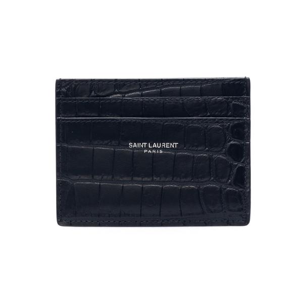 Portacarte nero in effetto coccodrillo                                                                                                                Saint Laurent 375946 retro