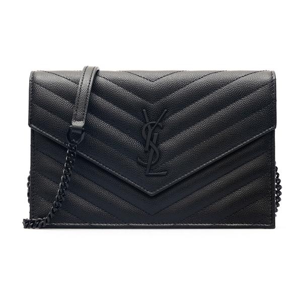 Portafoglio nero con logo a tono e tracolla                                                                                                           Saint Laurent 393953 retro