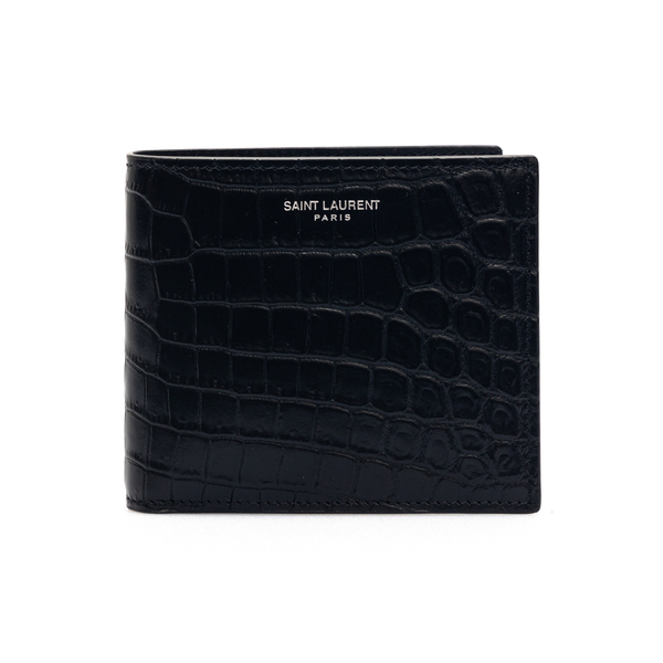 Black crocodile effect bi-fold wallet                                                                                                                 Saint Laurent 396303 back