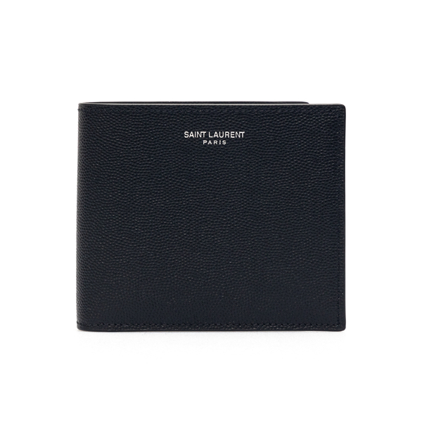 Black wallet with silver brand name                                                                                                                   Saint Laurent 396303 back