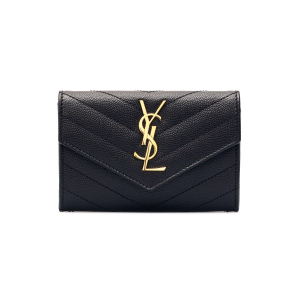 Portafoglio nero con monogramma oro                                                                                                                   Saint laurent 414404 fronte
