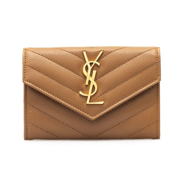 Portafoglio marrone chiaro con logo                                                                                                                   Saint Laurent 414404 retro