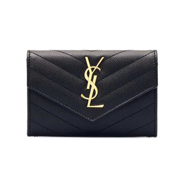 Portafoglio nero in pelle con logo                                                                                                                    Saint Laurent 414404 retro