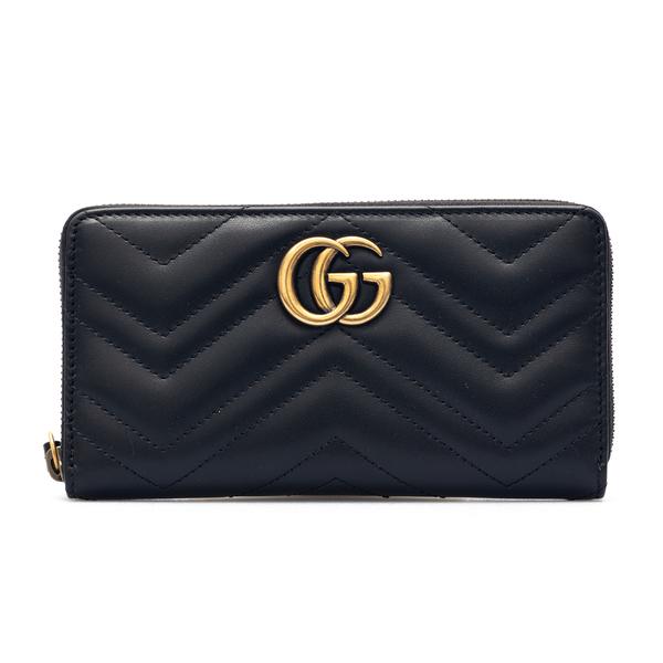 Portafoglio nero con monogramma oro                                                                                                                   Gucci 443123 retro
