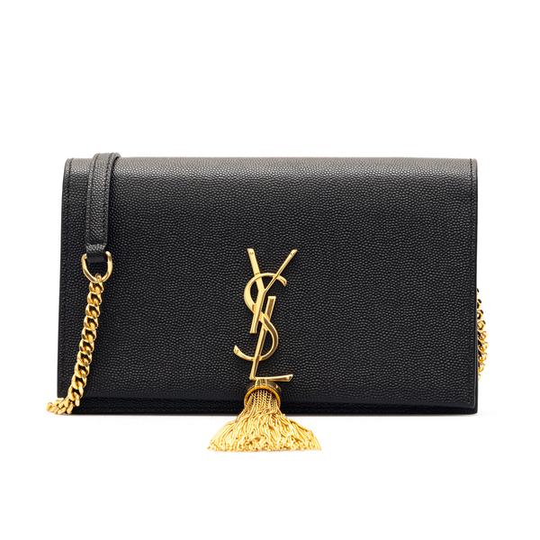 Portafoglio nero con tracolla                                                                                                                         Saint Laurent 452159 retro