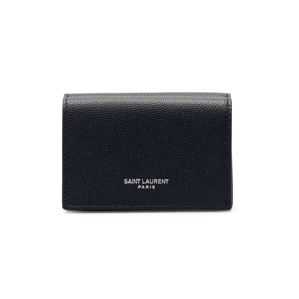 Black wallet with silver logo                                                                                                                         Saint laurent 459996 front