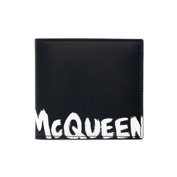 Portafoglio nero con stampa stile graffiti                                                                                                            Alexander Mcqueen 602137 retro