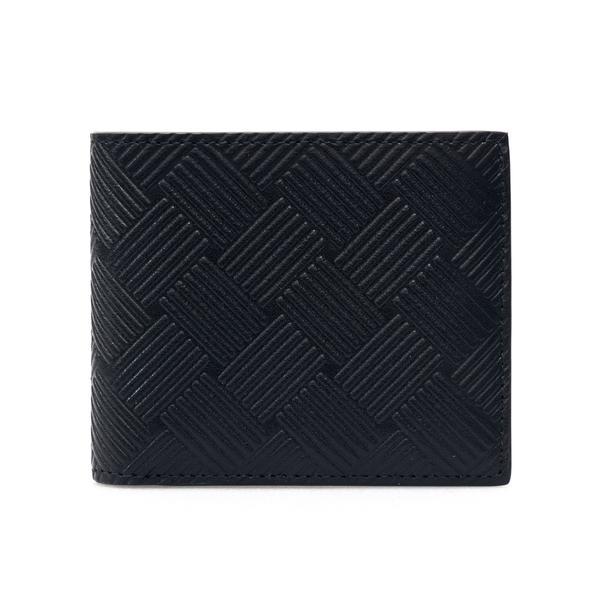 Portafoglio nero con texture a righe                                                                                                                  Bottega Veneta 605721 retro