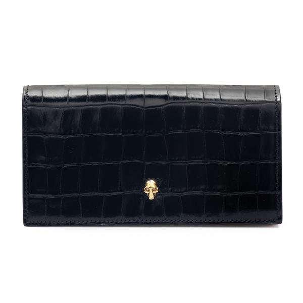 Portafoglio nero con teschio oro                                                                                                                      Alexander Mcqueen 632034 retro
