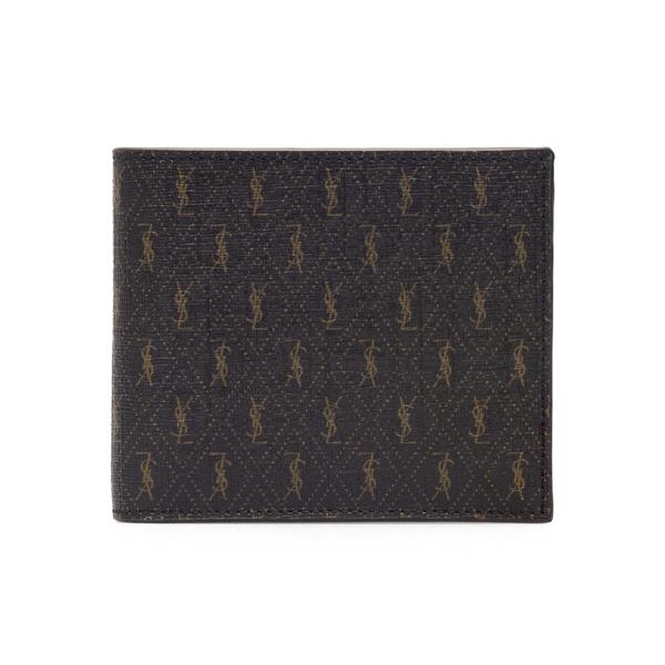 Portafoglio marrone con pattern logo                                                                                                                  Saint Laurent 647151 retro