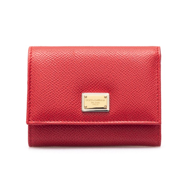 Red leather wallet with logo plaque                                                                                                                   Dolce&gabbana BI0770 back