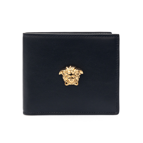 Black bi-fold style wallet with Medusa                                                                                                                Versace DPU2463 front