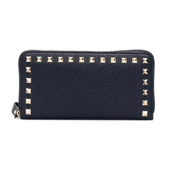 Portafoglio nero con borchie                                                                                                                          Valentino garavani VW2P0645 fronte