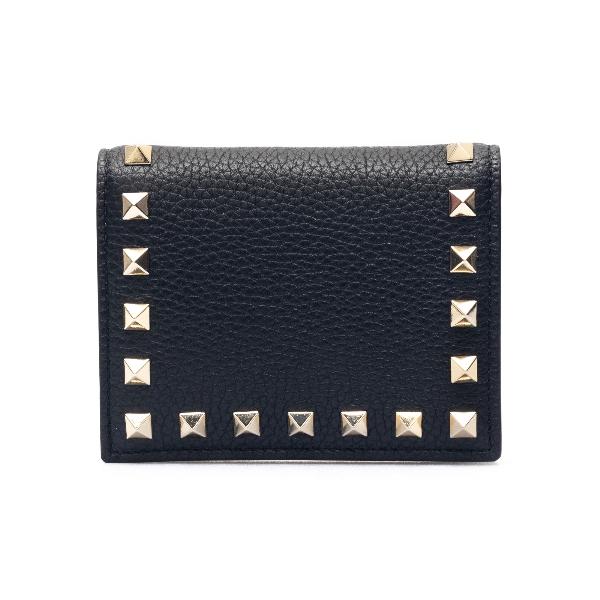 Portafoglio nero quadrato con borchie                                                                                                                 Valentino garavani VW2P0R39 fronte