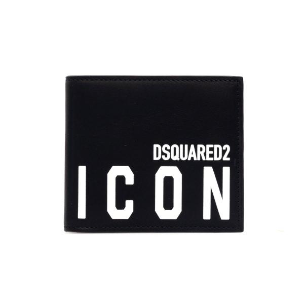 Portafoglio nero con stampa                                                                                                                           Dsquared2 WAM0015 retro