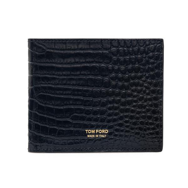 Portafoglio nero effetto coccodrillo con logo                                                                                                         Tom Ford Y0228T retro