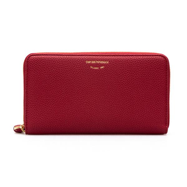 Portafoglio rosso con logo oro                                                                                                                        Emporio Armani Y3H246 retro