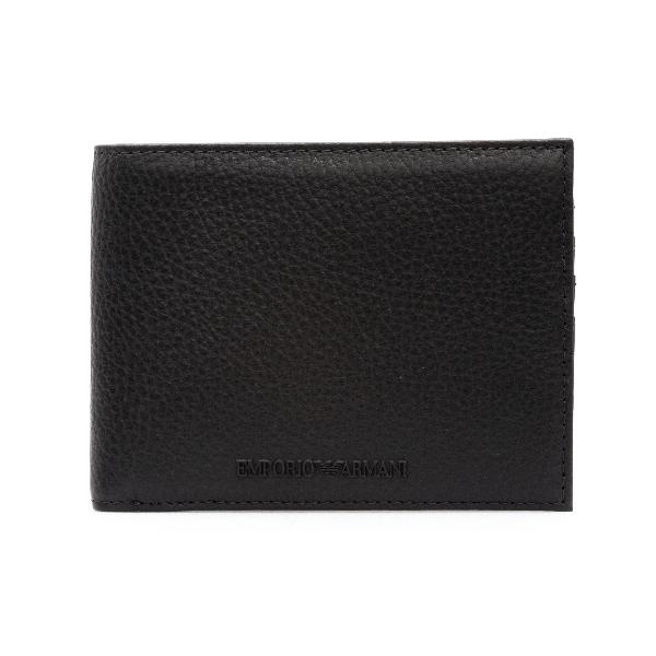 Portafoglio nero bi-fold con nome brand                                                                                                               Emporio Armani Y4R166 retro