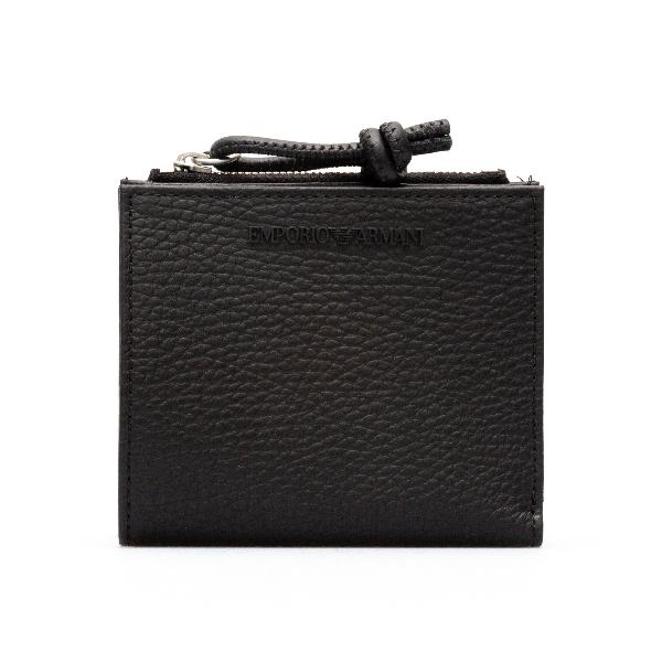 Portafoglio nero con nome brand a tono                                                                                                                Emporio Armani Y4R262 retro