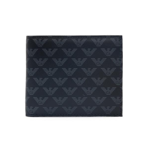 Portafoglio nero con pattern logo                                                                                                                     Emporio Armani YEM122 retro