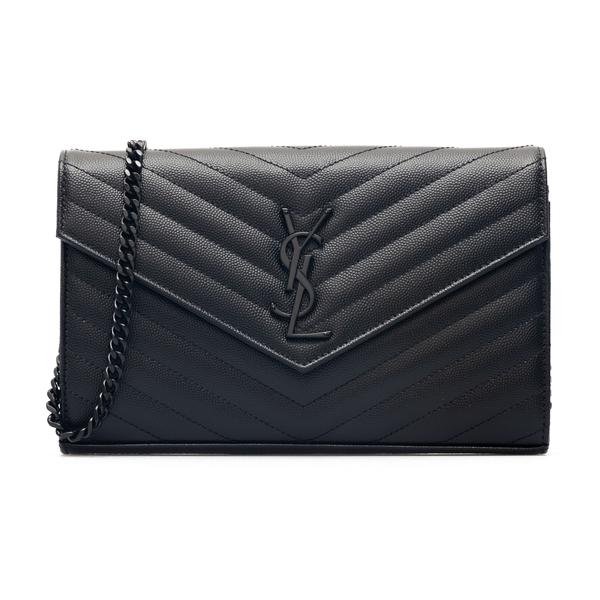 Black quilted wallet with shoulder strap                                                                                                              Saint Laurent 377828 back