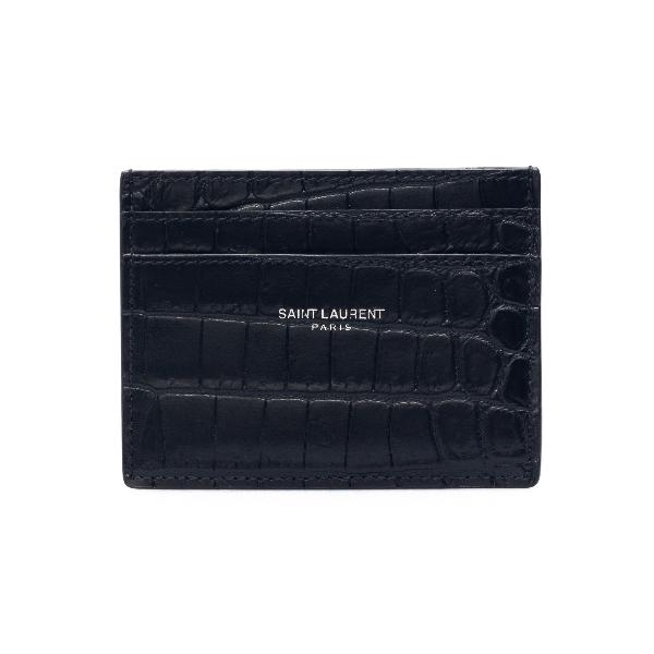 Black card holder with crocodile embossing                                                                                                            Saint laurent 375946 front