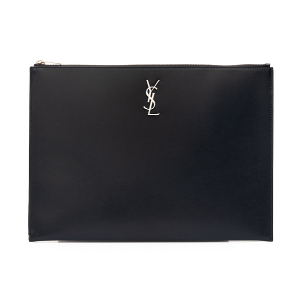 Portafoglio nero a bustina con logo                                                                                                                   Saint Laurent 453249 retro