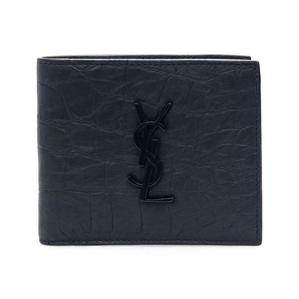 Portafoglio nero effetto coccodrillo con logo                                                                                                         Saint Laurent 453276 retro