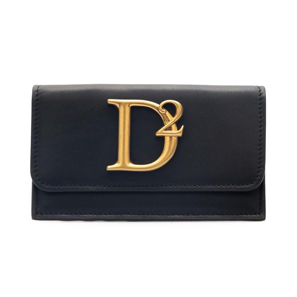 Portafoglio nero con logo oro                                                                                                                         Dsquared2 CCW0014 retro