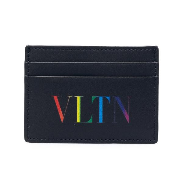 Black card holder with multicolored logo                                                                                                              Valentino garavani VY2P0448 front