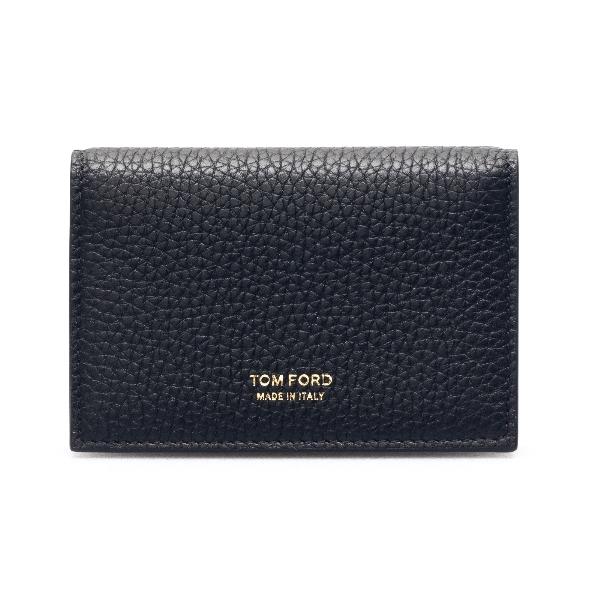 Black bi-fold wallet with logo                                                                                                                        Tom ford Y0277T front