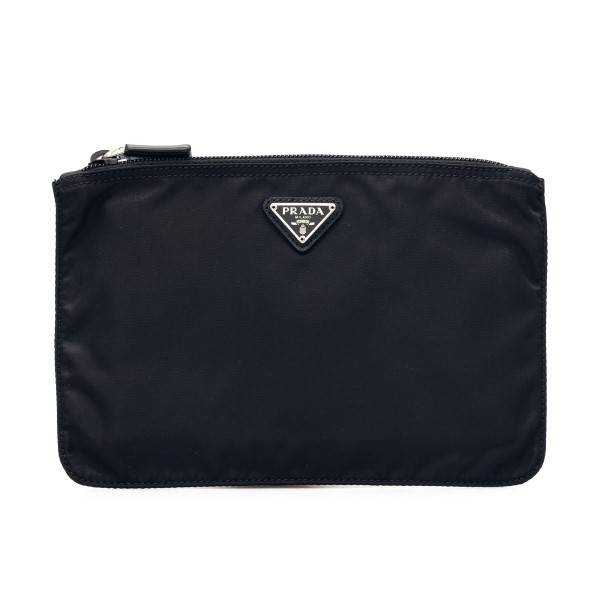 Black nylon clutch with logo                                                                                                                          Prada 1NB400 front