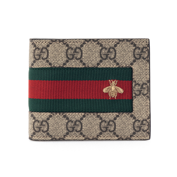 Beige wallet with bee embroidery                                                                                                                      Gucci 408827 back