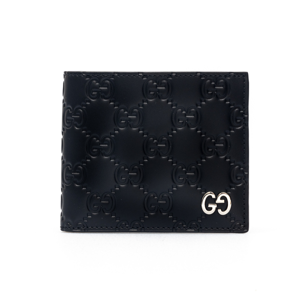 Black wallet with embossed pattern                                                                                                                    Gucci 473916 back