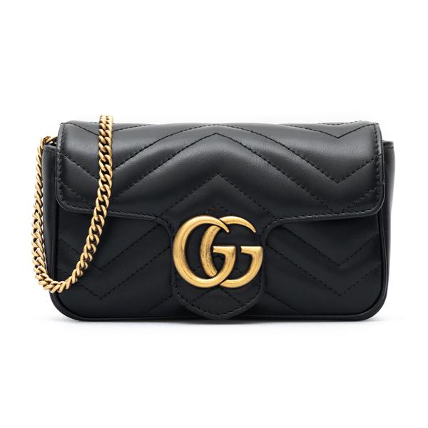 Borsa mini nera con logo oro                                                                                                                          Gucci 476433 fronte