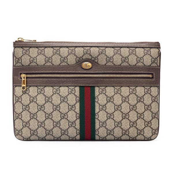 Pouch beige con logo e fascia bicolore                                                                                                                Gucci 517551 retro