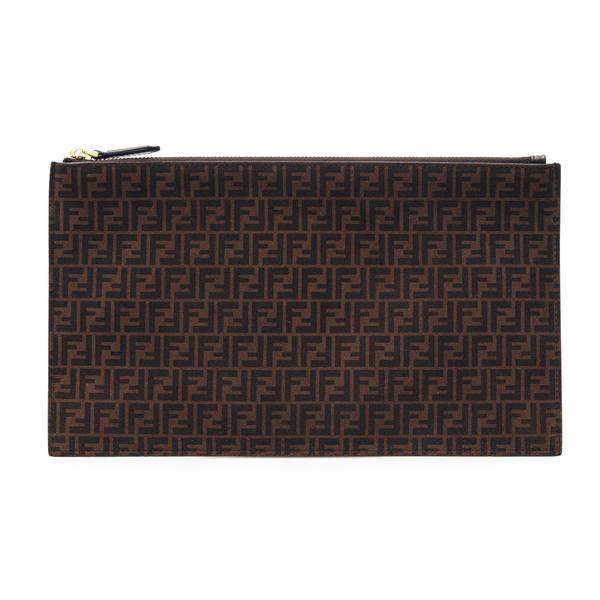Pouch media marrone con pattern logo                                                                                                                  Fendi 8N0149 retro