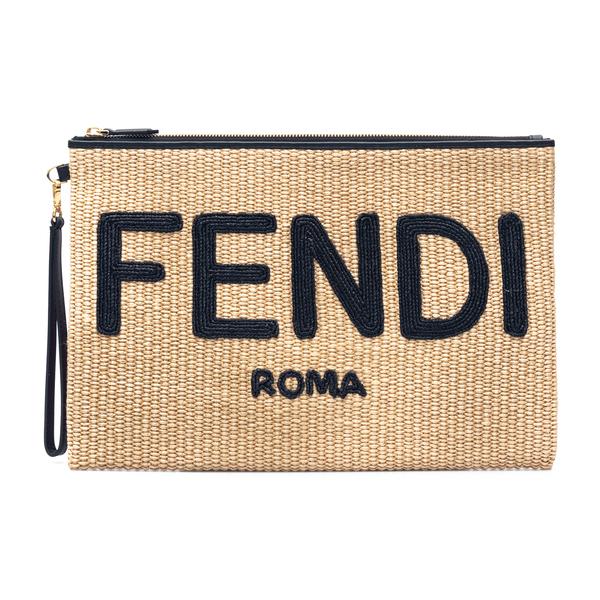 Straw clutch with logo embroidery                                                                                                                     Fendi 8N0178 back