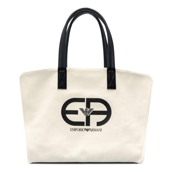 White tote bag with logo print                                                                                                                        Emporio Armani Y4Q305 back